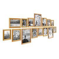 15er Bilderrahmen-Set Gold Barock Antik aus Kunststoff