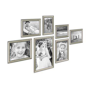 7er Bilderrahmen-Collage Silber Barock Antik aus Kunststoff inklusive Zubehör / Foto-Collage / Bildergalerie / Bilderrahmen-Set