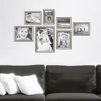 7er Bilderrahmen-Collage Silber Barock Antik aus Kunststoff inklusive Zubehör / Foto-Collage / Bildergalerie / Bilderrahmen-Set – Bild 1