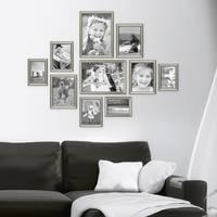 10er Bilderrahmen-Collage Silber Barock Antik aus Kunststoff inklusive Zubehör / Foto-Collage / Bildergalerie / Bilderrahmen-Set – Bild 2