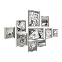 10er Bilderrahmen-Collage Silber Barock Antik aus Kunststoff inklusive Zubehör / Foto-Collage / Bildergalerie / Bilderrahmen-Set
