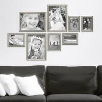 8er Bilderrahmen-Collage Silber Barock Antik aus Kunststoff inklusive Zubehör / Foto-Collage / Bildergalerie / Bilderrahmen-Set