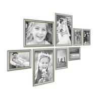 8er Bilderrahmen-Set Silber Barock Antik aus Kunststoff