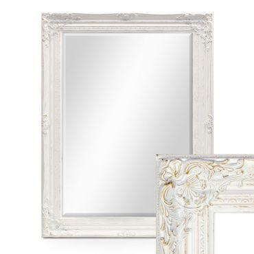 Wand Spiegel Im Barock Rahmen Antik Weiss Mit Facettenschliff 64x84