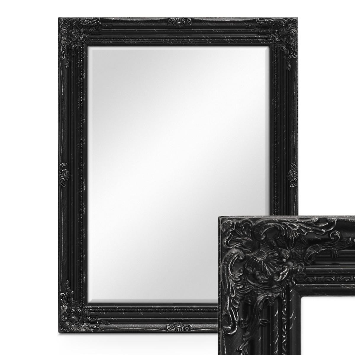 Wand spiegel im barock rahmen antik schwarz mit facettenschliff 64x84 cm spiegelfl che 50x70 - Barock spiegel schwarz ...