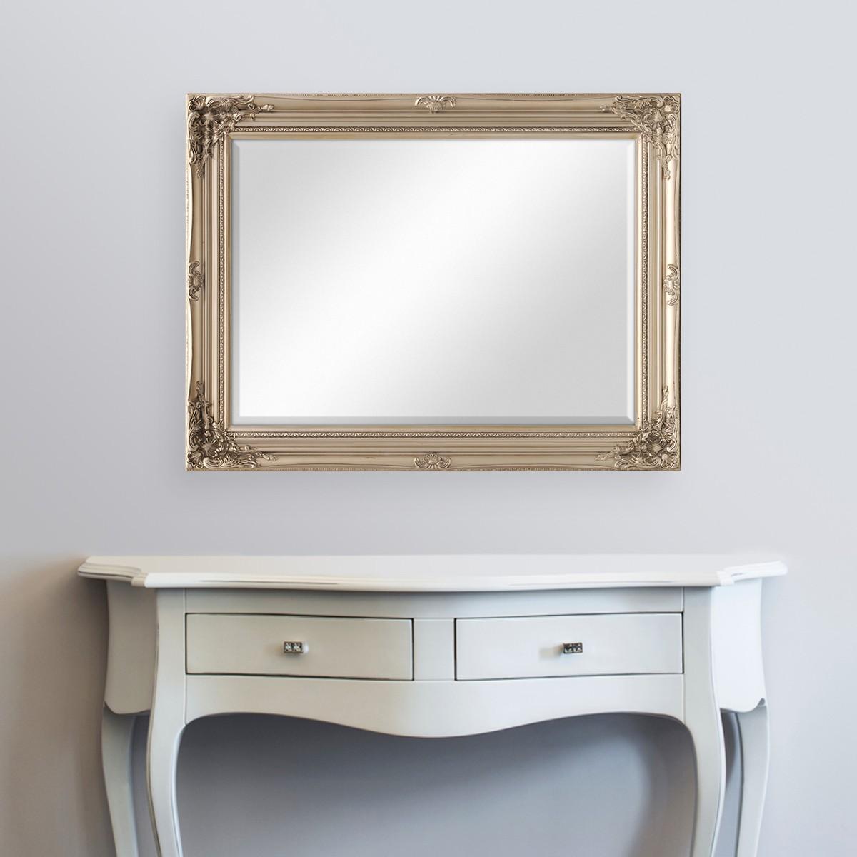 wand spiegel im barock rahmen antik silber mit. Black Bedroom Furniture Sets. Home Design Ideas
