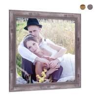 2er Set Bilderrahmen 20x20 cm Silber Barock Antik Massivholz mit Glasscheibe und Zubehör / Fotorahmen / Barock-Rahmen  – Bild 3