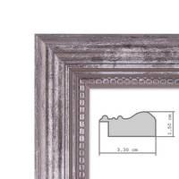 Bilderrahmen 20x30 cm Silber Barock-Rahmen Antik Massivholz 2er Set – Bild 2