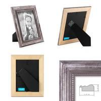 3er Set Bilderrahmen 10x10 cm Silber Barock Antik Massivholz mit Glasscheibe und Zubehör / Fotorahmen / Barock-Rahmen  – Bild 2