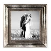 3er Set Bilderrahmen 10x10 cm Silber Barock Antik Massivholz mit Glasscheibe und Zubehör / Fotorahmen / Barock-Rahmen  – Bild 3