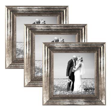 3er Set Bilderrahmen 20x20 cm Silber Barock Antik Massivholz mit Glasscheibe und Zubehör / Fotorahmen / Barock-Rahmen