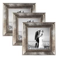 3er Set Bilderrahmen 20x20 cm Silber Barock Antik Massivholz mit Glasscheibe und Zubehör / Fotorahmen / Barock-Rahmen  – Bild 1