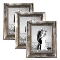 3er Set Bilderrahmen 21x30 cm / DIN A4 Silber Barock Antik Massivholz mit Glasscheibe und Zubehör / Fotorahmen / Barock-Rahmen