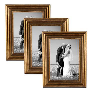 3er Set Bilderrahmen 21x30 cm / DIN A4 Gold Barock Antik Massivholz mit Glasscheibe und Zubehör / Fotorahmen / Barock-Rahmen