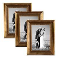 3er Set Bilderrahmen 21x30 cm / DIN A4 Gold Barock Antik Massivholz mit Glasscheibe und Zubehör / Fotorahmen / Barock-Rahmen  – Bild 1