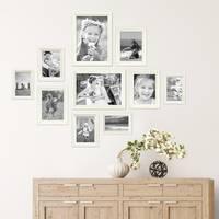 10er Bilderrahmen-Set Landhaus-Stil Shabby-Chic Weiss Massivholz inklusive Zubehör