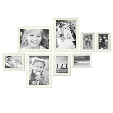 8er Bilderrahmen-Set Landhaus-Stil Shabby-Chic Weiss Massivholz / Fotorahmen / Portraitrahmen