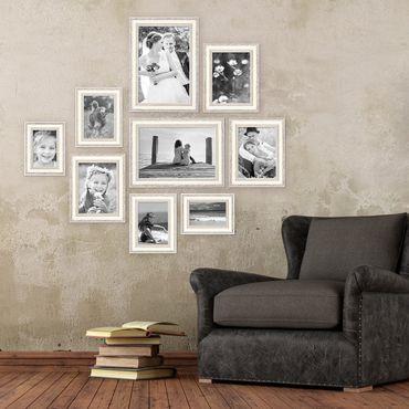 9er-Set Bilderrahmen Shabby-Chic Landhaus-Stil Weiss 10x15 bis 20x30 cm inkl. Zubehör / Fotorahmen