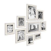 9er-Set Bilderrahmen Shabby-Chic Landhaus-Stil Weiss 10x15 bis 20x30 cm inkl. Zubehör / Fotorahmen – Bild 2