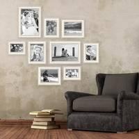 9er-Set Bilderrahmen Shabby-Chic Landhaus-Stil Weiss 10x15 bis 20x30 cm inkl. Zubehör / Fotorahmen – Bild 4