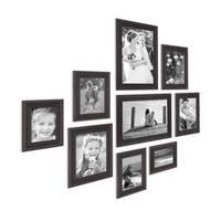 9er-Set Bilderrahmen Shabby-Chic Landhaus-Stil Dunkelbraun 10x15 bis 20x30 cm inkl. Zubehör / Fotorahmen – Bild 1