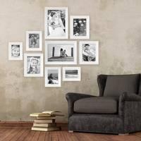 9er Bilderrahmen-Set Landhaus-Stil Weiss