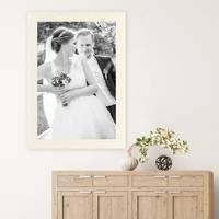 Bilderrahmen 50x70 cm Strandhaus Breit Rustikal Weiss Massivholz mit Acrylglasscheibe inkl. Zubehör / Fotorahmen  – Bild 2