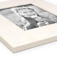 2er Bilderrahmen-Set 15x20 cm Strandhaus Breit Rustikal Weiss Massivholz mit Glasscheibe inkl. Zubehör / Fotorahmen  – Bild 4