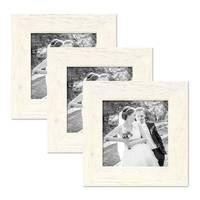 3er Bilderrahmen-Set 20x20 cm Strandhaus Breit Rustikal Weiss Massivholz mit Glasscheibe inkl. Zubehör / Fotorahmen
