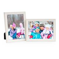 2er Set Landhaus-Bilderrahmen 13x18 cm Weiss Massivholz mit Glasscheibe und Zubehör / zum Stellen oder Hängen / Fotorahmen  – Bild 7