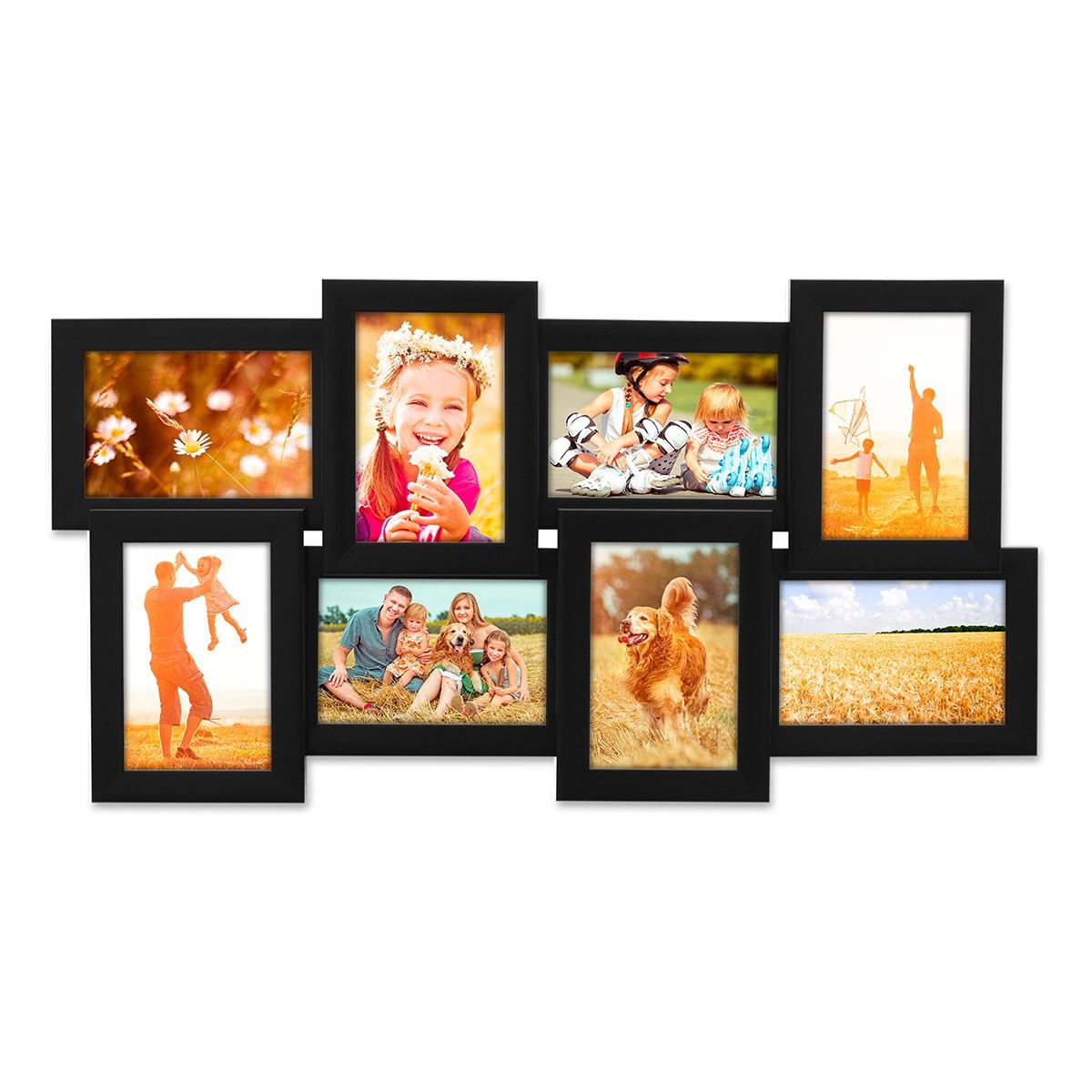 mehrfach bilderrahmen collage rahmen f r 8 bilder 10x15 cm modern schwarz weiss ebay. Black Bedroom Furniture Sets. Home Design Ideas