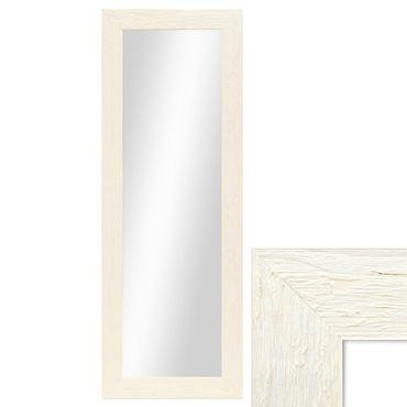 Wand-Spiegel 40x100 cm im Massivholz-Rahmen Strandhaus-Stil Breit Weiss Rustikal / Spiegelfläche 30x90 cm