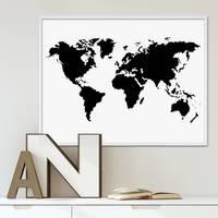Poster Weltkarte 40x50 cm schwarz-weiss Motiv XXL Landkarte Erde