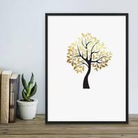 Design-Poster Der goldene Baum 30x40 cm in Schwarz-Gold Motiv Natur Baum