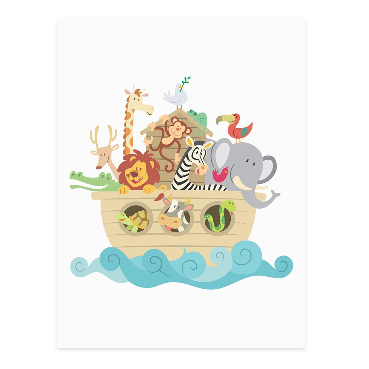 Poster Noahs Arche 30x40 Cm Kinderposter Motiv Tiere Natur Lernposter Bunt 001