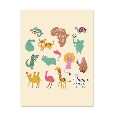 Poster 'Afrikas Tiere' 30x40 cm Kinderposter Motiv Tiere Natur Lernposter Bunt