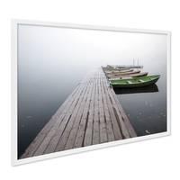 Poster mit Bilderrahmen Weiss Brücke mit Booten 40x50 cm Natur Landschaft Steg