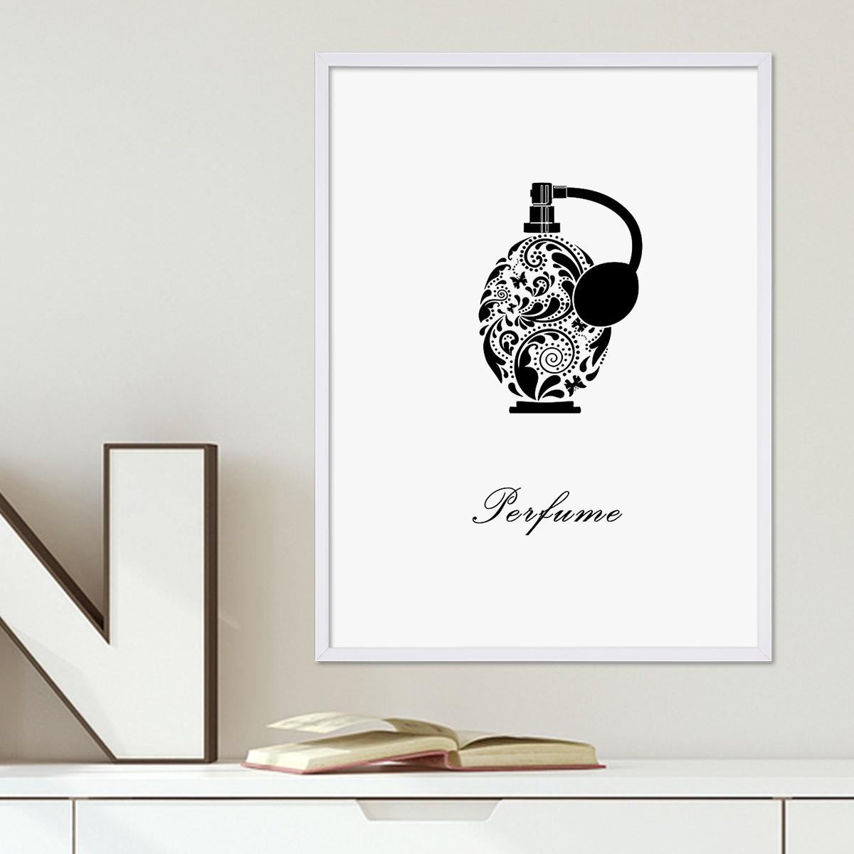 design poster mit bilderrahmen weiss 39 parf m 39 30x40 cm schwarz weiss motiv mode dekoration. Black Bedroom Furniture Sets. Home Design Ideas