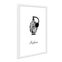 Design-Poster mit Bilderrahmen Weiss 'Parfüm' 30x40 cm schwarz-weiss Motiv Mode Dekoration