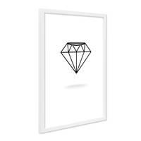 Design-Poster mit Bilderrahmen Weiss 'Diamant' 30x40 cm schwarz-weiss Motiv Modern Grafik