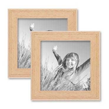 2er Set Landhaus-Bilderrahmen 10x10 cm Holz Natur Massivholz mit Glasscheibe und Zubehör / zum Stellen oder Hängen / Fotorahmen