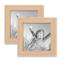 2er Set Landhaus-Bilderrahmen 10x10 cm Holz Natur Massivholz mit Glasscheibe und Zubehör / zum Stellen oder Hängen / Fotorahmen  – Bild 1