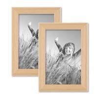2er Set Landhaus-Bilderrahmen 10x15 cm Holz Natur Massivholz mit Glasscheibe und Zubehör / zum Stellen oder Hängen / Fotorahmen  – Bild 1