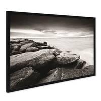 Poster mit Bilderrahmen Schwarz 'Küste' 40x50 cm schwarz-weiss Motiv Natur Landschaft Maritim