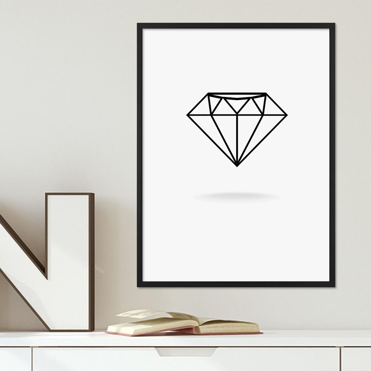 Design-Poster mit Bilderrahmen Schwarz \'Diamant\' 30x40 cm schwarz ...