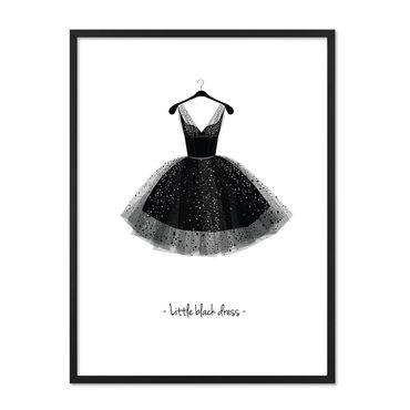 Design-Poster mit Bilderrahmen Schwarz 'Kleid' 30x40 cm schwarz-weiss Motiv Mode Dekoration