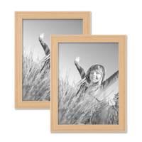 2er Set Landhaus-Bilderrahmen 15x20 cm Holz Natur Massivholz mit Glasscheibe und Zubehör / zum Stellen oder Hängen / Fotorahmen  – Bild 1