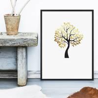 Design-Poster mit Bilderrahmen Schwarz 'Der goldene Baum' 30x40 cm Motiv Natur Baum