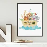 Poster mit Bilderrahmen Schwarz 'Noahs Arche' 30x40 cm Kinderposter Motiv Tiere Natur Lernposter Bunt – Bild 5