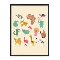 Poster mit Bilderrahmen Schwarz 'Afrikas Tiere' 30x40 cm Kinderposter Motiv Tiere Natur Lernposter Bunt
